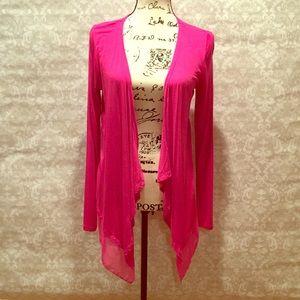 Pink Chiffon Trim Cardigan